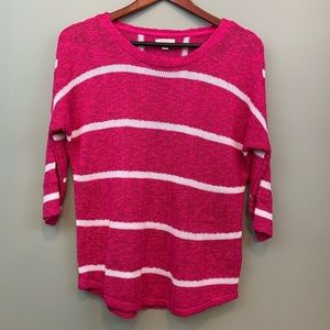 Hot Pink Open Knit White Stripe Pullover Sweater